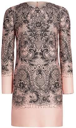 Valentino Lace Print Long Sleeve Dress