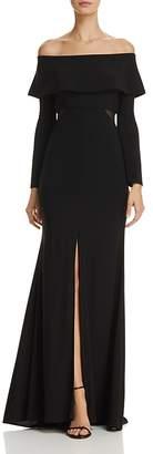 Aqua Off-the-Shoulder Cutout Gown - 100% Exclusive