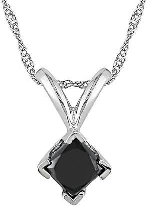 Black Diamond FINE JEWELRY 1/2 CT. T.W. Princess-Cut Color-Treated Pendant Necklace