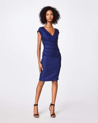Nicole Miller Stretch Linen V-neck Cap Sleeve Wrap Dress