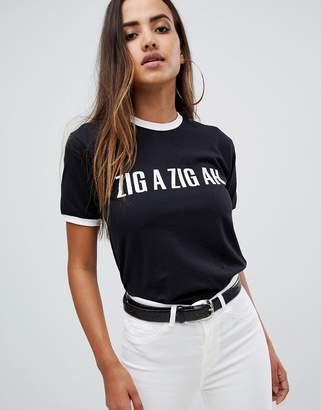 Missguided zig a zig ah slogan t-shirt in black
