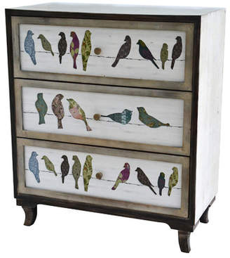 August Grove Millwright Birds on a Wire 3 Drawer Painted Chest