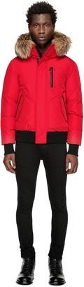 Florian Winter Down Bomber Jacket With Fur In Red $690 thestylecure.com