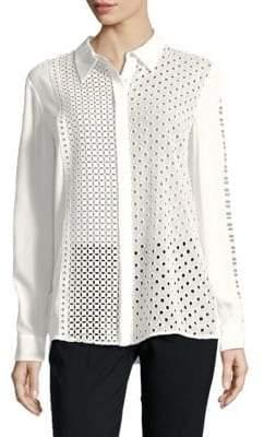 T Tahari Helene Eyelet Shirt