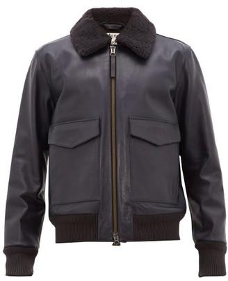 Acne Studios Lazlo Shearling Collar Leather Jacket - Mens - Navy