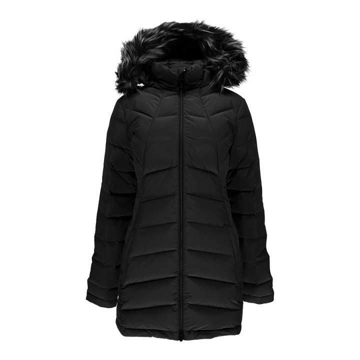 Women's Black Syrround Long Faux Fur Down Coat