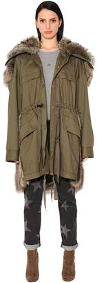 Stella McCartney Light Canvas & Faux Fur Parka