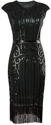Vijiv 1920s Vintage Inspired Sequin Embellished Fringe Long Gatsby Flapper Dress size XL