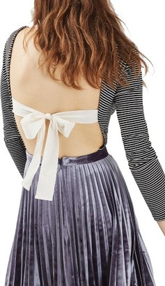Women's Topshop Bow Back Stripe Bodysuit $45 thestylecure.com