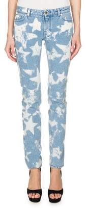 Givenchy Bleached Stars Skinny Jeans, Light Blue
