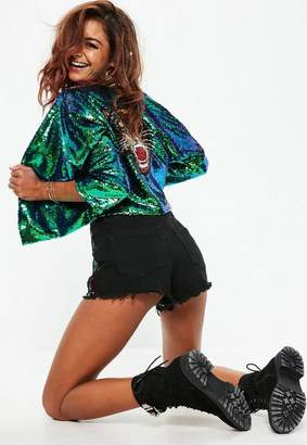 Missguided Green sequin tiger jacket