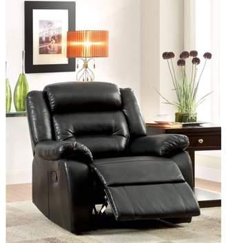 Furniture of America Leonard Contemporary Recliner, Black