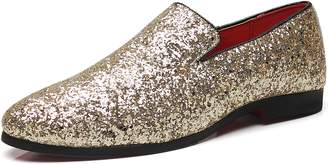 Gentle Shoes Mall Men's Modern Sequins Loafers Slip-on Glitter Nightclub Shoes (10.0, )