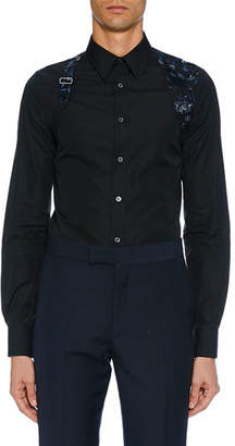 Alexander McQueen Men's Long-Sleeve Embroidered Flower Shirt