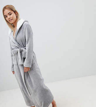 Asos DESIGN Petite supersoft fleece midi robe with contrast lining