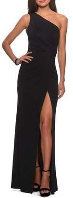 La Femme One-Shoulder Ruched Open-Back Jersey Gown w/ Slit