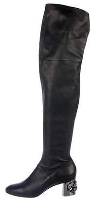Casadei Leather Round-Toe Thigh-High Boots