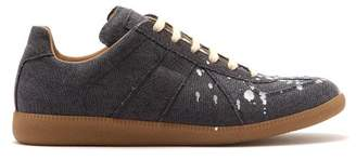 Maison Margiela Replica Paint Effect Low Top Canvas Trainers - Mens - Black