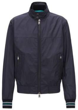 BOSS Hugo Water-repellent blouson jacket in shape-retaining technical fabric 44R Open Blue
