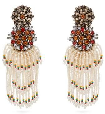 Etro - Crystal And Bead Tassel Clip Earrings - Womens - Pearl