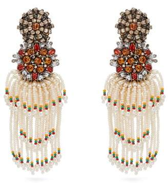 Etro Crystal And Bead Tassel Clip Earrings - Womens - Pearl
