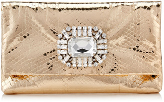 Jimmy Choo TITANIA Gold Metallic Python Clutch Bag with Jewelled Centre Piece