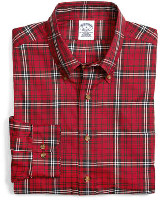 Brooks Brothers Supima Cotton Slim Fit Non-Iron Red with White Tartan Sport Shirt