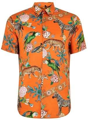 Topman Mens Premium Red Animal Print Short Sleeve Shirt