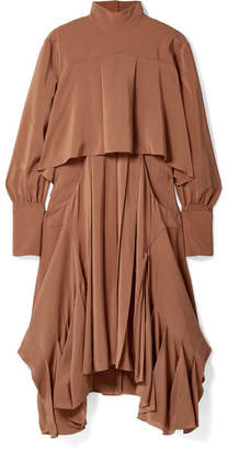 Chloé Asymmetric Pleated Silk Crepe De Chine Turtleneck Dress - Brown