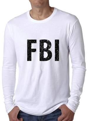 Hollywood Thread Trendy FBI Large Font Graphic Design Men's Long Sleeve T-Shirt