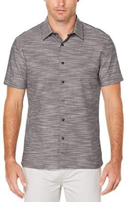Perry Ellis Men's Short Sleeve Solid Slub Texture Shirt