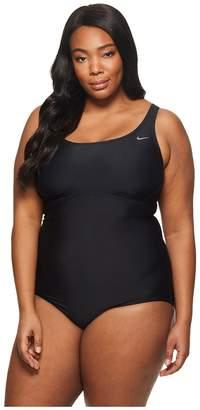 Nike Plus Size Racerback Spliced One-Piece Women's Swimsuits One Piece