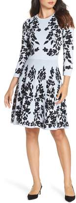 Eliza J Floral Fit & Flare Sweater Dress