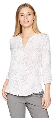 NYDJ Women's Petite Size 3/4 Sleeve Pintuck Blouse