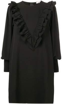 Ganni heavy crepe ruffle dress