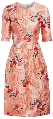 Lela Rose Holly Elbow-Sleeve Floral A-Line Dress