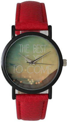 OLIVIA PRATT Olivia Pratt Womens Black The Best Is Yet To Come Multi-Color Dial Red Leather Strap Watch 15117