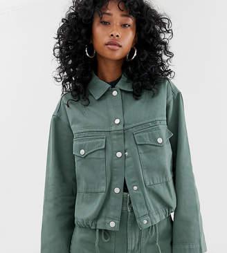 Weekday drawstring denim jacket in khaki