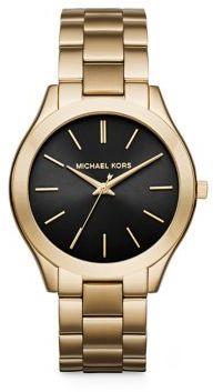 MICHAEL Michael KorsMichael Kors Slim Runway Goldtone Stainless Steel Bracelet Watch