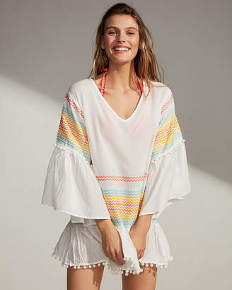Express Pom Hem Embroidered Cover-Up