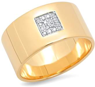 ERINESS - Cigar Band With Pave Diamond Square