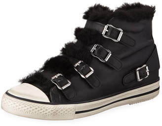 Ash Valko Leather High-Top Sneaker with Faux Fur