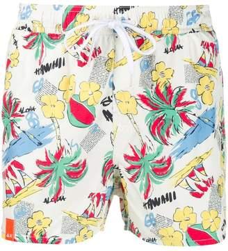 Sun 68 Hawaiian print swim shorts