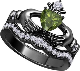 Factory Silver Gems Heart Shape Created Dark Green Peridot & CZ Created Diamond 14k Black Gold Finish Alloy Engagement Wedding Bridal Set Claddagh Ring