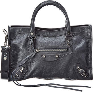 Balenciaga Classic City Logo Strap Small Leather Shoulder Bag