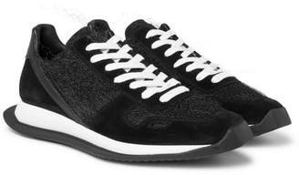 Rick Owens Leather, Suede and Mesh Sneakers - Men - Black