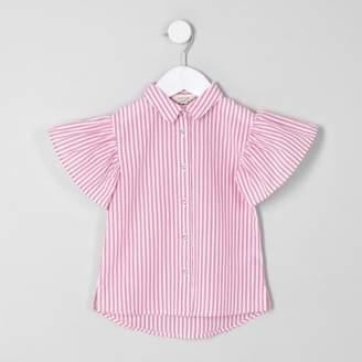 River Island Mini girls pink stripe frill sleeve shirt