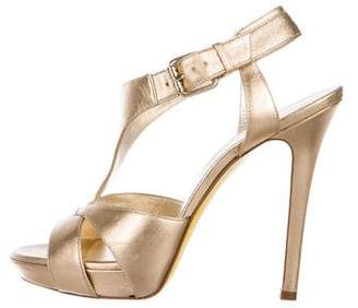 Versace Metallic Leather Ankle Strap Sandals