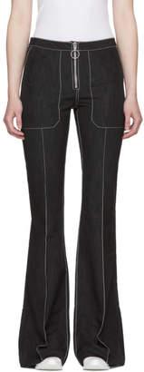 Marques Almeida Black Pin Tuck Boot Cut Trousers