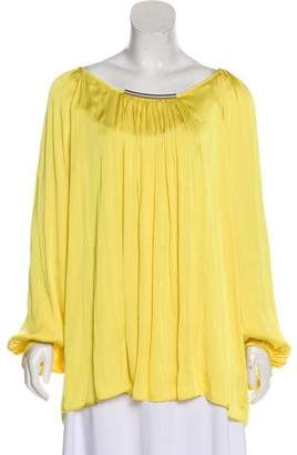 Josie Natori Pleated Scoop Neck Blouse